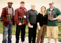 2012 Silvio Cella Family Foundation Grant recipients (l to r) Coach Byron Beaman, Jeremiah Burke School/Boston, Coach Dale Olmstead, Millis H.S., Michael Cella, Gina Cella, Coach Robert Slattery, Ware H.S. Not pictured: Coach Michael Yameen, Lawrence H.S.